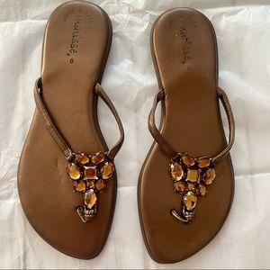 Matisse Copper Flat Flip Flops, Made in Italy